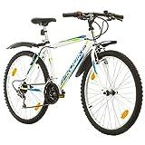 Multibrand PROBIKE 26 Zoll Mountainbike Shimano 18 Gang, Herren-Fahrrad & Jungen-Fahrrad, geeignet ab 165-183 cm (Weiß+Kotflügel)