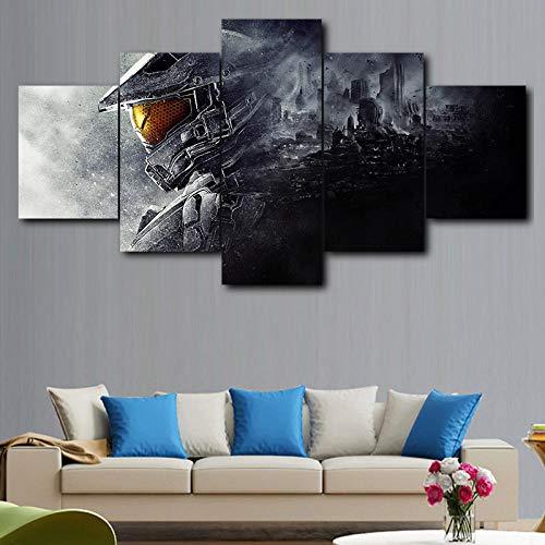 LIVELJ 5 Teilig Kunstdruck Leinwandbild modern Wand Aufhängen Dekoration Bild Abstrakt Design HD Panel Home Anhänger Album Album/Master Chief/Eingerahmt Gesamtgröße: (H-80 cm x M/B-150 cm)