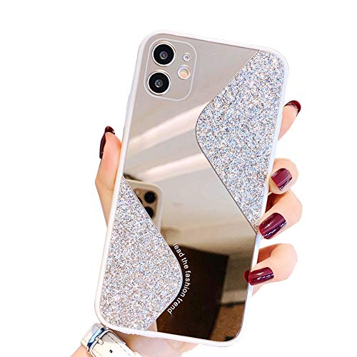 Ownest Compatible with iPhone 11 Case,with Camera Cover Protection,for Girls Women Cute Stylish with Glitter Mirror TPU PC Back Silicone Slim Bling Shiny Case for iPhone 11-(White)