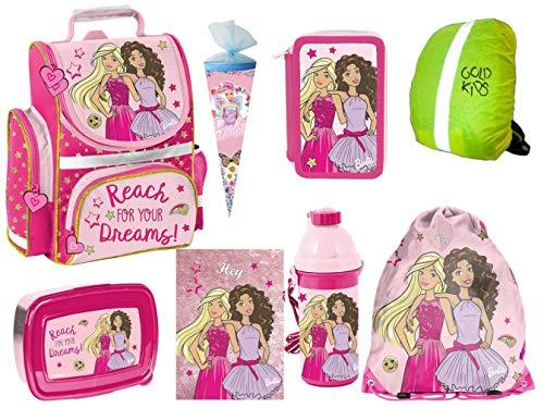 Barbie Schulranzen Set Schultüte ergonomischer Ranzen Tornister XXL Federmappe Turnbeutel Brotdose Trinkflasche Regenhülle Mädchen 7-teilig Barbie Lizenz