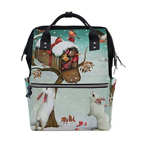 COOSUN Kerst brievenbus en konijnen in de winter bos luier veranderen tas luier rugzak met geïsoleerde zakken wandelwagen banden, grote capaciteit multifunctionele stijlvolle luiertas voor mama papa outdoor