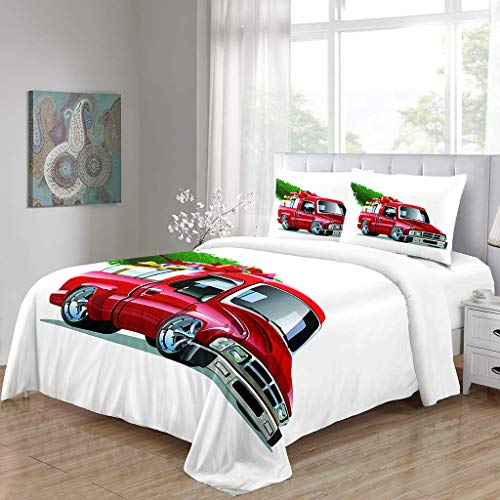 SFFLILY Bedding Duvet Cover Sets Ultra Soft Microfibre Hypoallergenic Quiltfor Teen Kids Boys Girls Adultchristmas Red Car Double(200X200Cm)