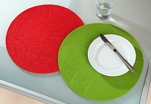 Guilde Feutre Set de Table Rond Vert 1 Ø 35 cm