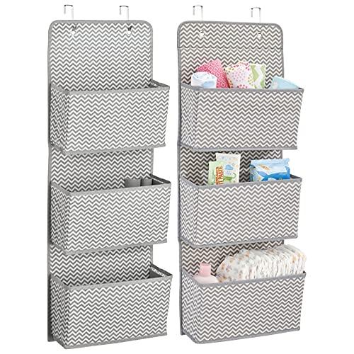 mDesign étagère de rangement avec 3 compartiments – lot de 2 – meuble de rangement en tissu pour peluches, couches ou serviettes de bain – sac de rangement suspendu – gris/crème