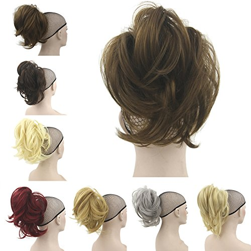 Deniya Short Messy Hair Pieces Bun and Ponytails Claw in Hair Extension Curly for Girls