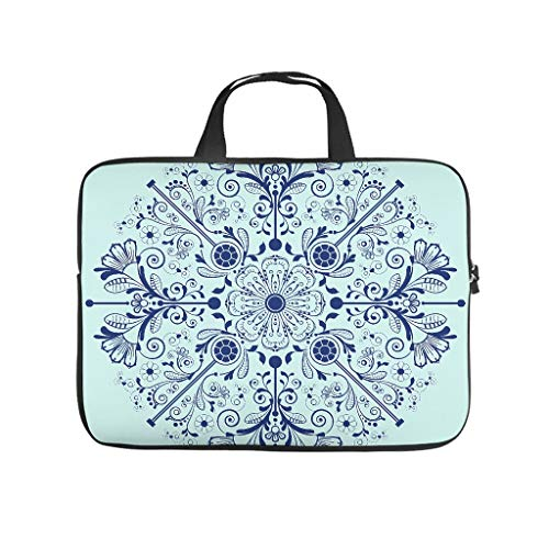 Funny Tablet Sleeve Midnight Blue Mandala Flower Double-Sided Printed Tablet Sleeve Dust Proof Polyester Notebook Handbag for Dad Mom White 15inch
