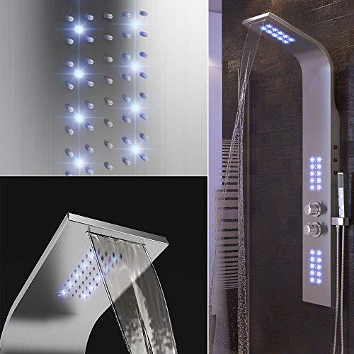Columna de Ducha, Panel de Ducha, Luces LED púrpuras, Ducha de Mano, Modos múltiples, Experiencia, 136 * 22 * 7 cm