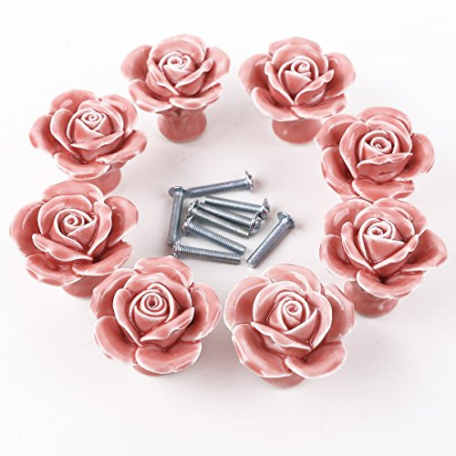 Auped - Pomelli in ceramica a forma di rosa, stile vintage, per porte, cassetti, armadietti e cassetti, con vite per decorare la casa, 8 pezzi