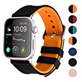 Apple Watch Band Silicone Compatible Apple Watch 42mm 44mm 38mm 40mm, Fullmosa Rainbow Soft Rubber iWatch Band for Apple Watch 5/4/3/2/1, Black Top/Pumpkin Orange Bottom 44mm 42mm