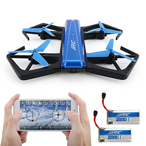 kingtoys Drone Pieghevole, JJRC H43WH 720P WiFi Camera con Auto Beauty Mode, G-Sensor Model, Altitude Hold RC Quadcopter (2 PCS Batteria) , Blue