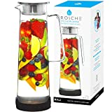 GROSCHE Hand-Made Glass Water Infusion Pitchers and Sangria Pitcher with Stainless Steel Filter (Bali)
