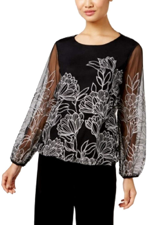 Alfani Womens Petites Mesh Embroidered Dress Top