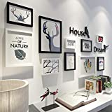 STZJBD 10pcs / Set Wall Decorationimagen Conjunto Conjunto Negro Blanco Moderno Simplicidad Madera Marco De Fotos Conjunto De Marcos De Imagen para Imágenes(Color:B)