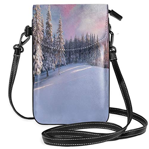 Women Small Cell Phone Purse Crossbody,Idyllic Panorama Of Winter Sunrise In Snow Covered Mountains Serenity Freshness