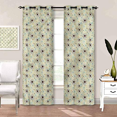 painting-home Draperies & Curtains Floral, Different Seasonal Flowers Thermal Insulated Curtain Keep The Indoor Privacy W84 x L84 Inch
