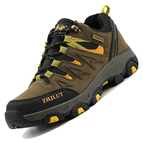 Unitysow Zapatillas de Trekking para Hombres Zapatillas de Senderismo Botas de Montaña Antideslizantes AL Aire Libre Zapatillas de Camping Zapatillas de Deporte EU35-47,Verde Oscuro-2,EU42