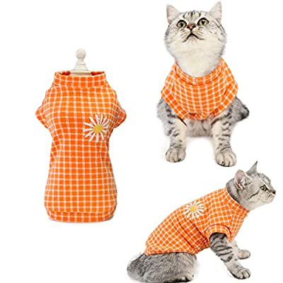 LuzPet Small Dog Cat Jumper Clothes Clothing Coat Outfit Soft Cotton Costume Jacket Plaid with Daisy Garment for Tiny Mini Little Dogs Doggies Doggy Pooch Puppy Rabbit kitty Kitten (Medium, Orange)