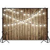 Avezano Rustic Wood Shiny Lights Backdrop for Birthday Baby Shower Wedding Bridal Party Decorations 7x5ft Simulation Bulb Wooden Photography Studio Backgroud for Print Picture