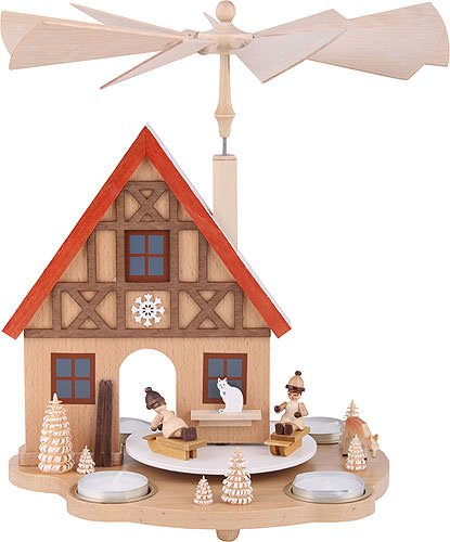 1-Tier German Christmas Pyramid Winter Children, for Tea Candles - 29cm / 11.4inch - Richard Glässer