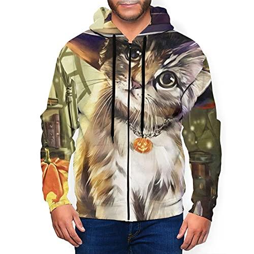 Sudadera con capucha para hombre con cremallera completa con capucha y diseño clásico con capucha, Halloween lindo gato calabaza mago negro, S