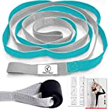 Yoga Strap + Door Anchor, 12 Loops Yoga Stretch Straps Set Leg Stretcher Non-Elastic Stretching Strap Band for Physical Therapy, Yoga, Dance, Pilates with Exercise Instruction (Blue) by SpringCool