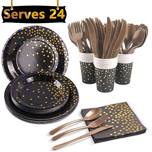 Black and Gold Party Supplies, Serves 24 - Gold Foiled Polka Dot Disposable Dinnerware Set for School Graduation,New Years Party,Bridal Shower Decor,Birthday,Anniversary,Bachelorette,Celebration Party