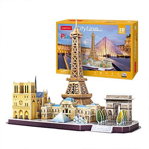 GHmarine Rompecabezas 3D Atracciones mundialmente Famosas, Edificio de la Ciudad Modelo de ensamblaje Combinado Juguetes educativos Insertar Juguetes para niños(Paris, France)