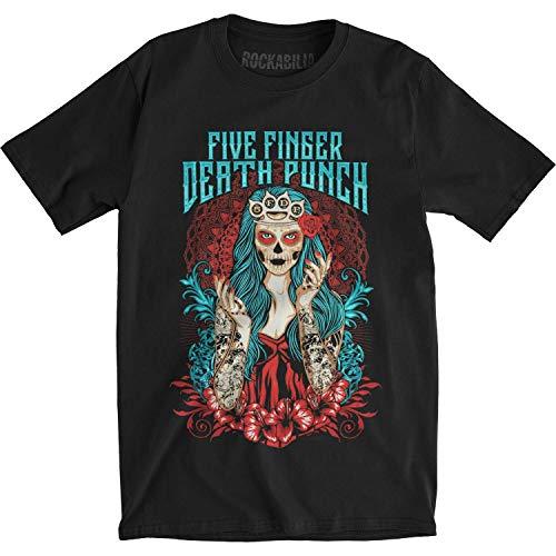 Five Finger Death Punch T Shirt Lady Muerta Band Logo Offiziell Herren