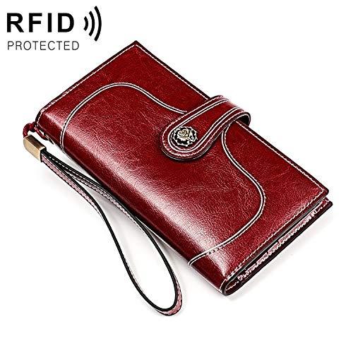 LJ Lederen portemonnee 3527 Vintage Olie Wax Textuur Grote Capaciteit Lange Multifunctionele Anti-magnetische RFID Portemonnee Koppeling voor Dames (Zwart), portemonnee