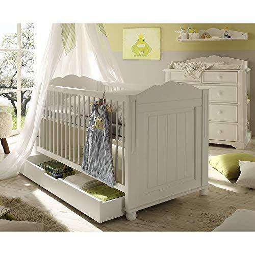 Lomadox Landhaus Babyzimmer Set mit Babybett und Wickelkommode 6-teilig