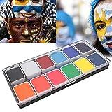 12 Colores Pintura de la Cara del Cuerpo, Pintura Facial Lavable para Halloween DIY Maquillaje Kit Pinturas Cara y Cuerpo para Niños y Niñas Incluye 2 Pinceles para Pintura Facial