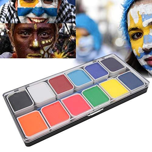 Peinture de visage pour le corps 12 couleurs, peinture de visage lavable pour Halloween Kit de maquillage bricolage Peintures pour le visage et le corps pour garçons et filles Comprend 2 pinceaux