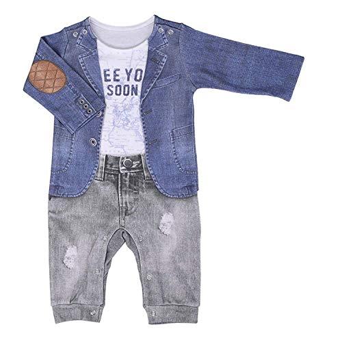 Sevira Kids – Pijama bebé niño de algodón orgánico, JOE gris gris Talla:1-3M - 56CM