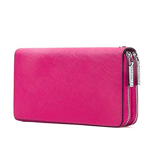 Contatti da donna in vera pelle con doppia cerniera custodia borsa frizione portafoglio Rosso Rose Red-L taglia unica