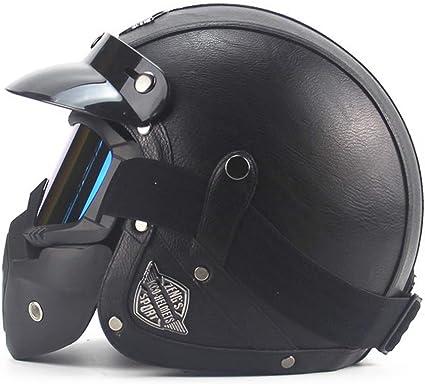 CARACHOME Casco Seguridad, Casco de Motocross, Motocicleta con máscara, Casco Patinete electrico Adulto. Adecuado para Moto Scooter CS Juego de ...