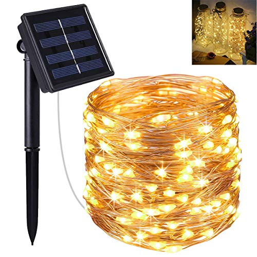 Solar Powered String Lights, 100 LED Copper Wire Lights, Starry String Lights, Indoor/ Outdoor Waterproof Solar Decoration Lights for Gardens, Home, Dancing, Party Decorative Ornaments (Warm White)