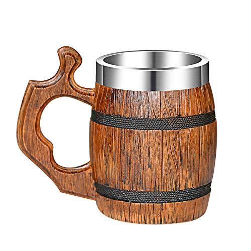OTARTU Taza de cerveza vintage de madera de roble imitativo, estilo medieval, estilo vikingo, de acero inoxidable, jarra de cerveza, 500 ml, regalo único