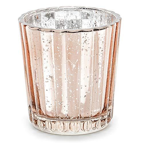 DekoHaus 4 Stück Kerzenhalter aus Glas in Roségold Höhe 6 cm Teelichthalter Kerzenständer