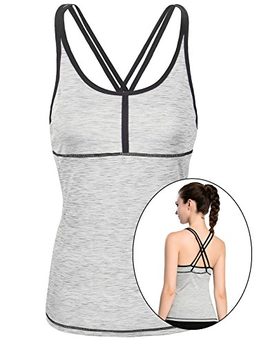 Fastorm Women/Girls Petite Sports Strappy Crossback Tank Tops w Built In Bra For Tennis, Yoga, Running, Workout Grey M