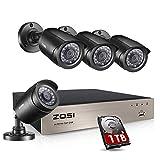 ZOSI 1080P Außen Überwachungskamera System mit 1TB Festplatte 8CH 1080N HDMI DVR Plus 4 Wetterfest 2,0MP Kamera für Haus Sicherheit