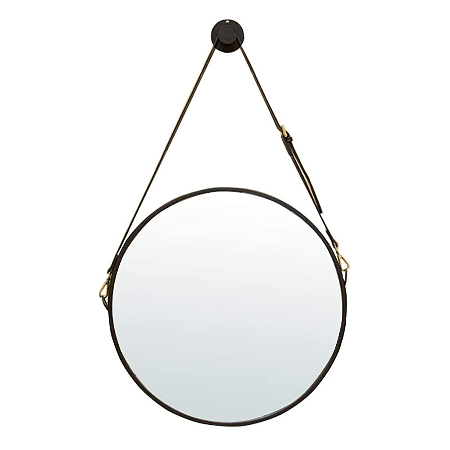 抵抗するメロドラマアミューズメント辉子化粧鏡 ストラップをぶら下げ調整フェイクレザーとミラー壁掛け丸型メタル鏡|額縁アイアン|浴室の壁マウントされたバニティミラーレトロなメイクアップ化粧鏡 (Color : Black, Size : 60CM)