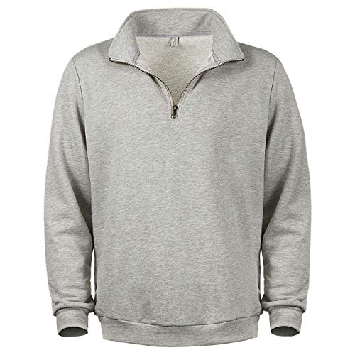VICALLED Men's 1/4 Zip Sweatshirt Performance Stand Collar Regular Fit Quarter Zip Pullover Grey