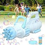 MMTX Máquina Burbujas,12-Hole Pistola de Burbujas para Niños, Máquina de Burbujas Automática Portátil con Jabón Líquido, Maquina Pompas Jabon de para Niños Juguete de Baño Fiestas Bodas