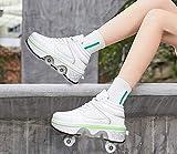 DHTOMC Pattini A Rotelle per Adulti con 7 Luci Che Cambiano Colore,Pieghevole Diventa Sneaker Sportive per Ragazze dei Ragazzi,EUR38