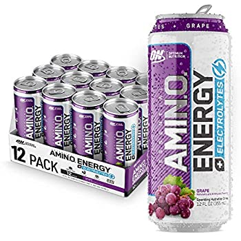 Optimum Nutrition Amino Energy + Electrolytes Sparkling Hydration Drink - Pre Workout BCAA Keto Friendly Energy Drink - Grape 12 Count  Packaging May Vary