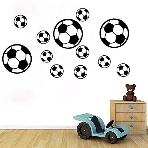 LSMYM Decoración fútbol bricolaje autoadhesivo fútbol etiqueta de la pared niños dormitorio sala de estar decoración pegatina suave rosa pequeño 7x7 cm 14 piezas