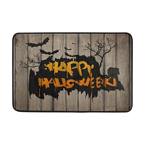 Use7 Happy Halloween Bat Forêt Paillasson d'entrée intérieur extérieur Tapis de Sol de Salle de Bain 59,9 x 39,9 cm
