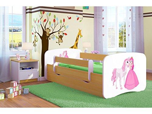 Kinderbett Jugendbett 70x140 80x160 80x180 Buche mit Rausfallschutz Matratze Schublade und Lattenrost Kinderbetten für Mädchen und Junge Prinzessin und Pferd 180 cm