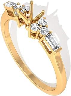 IGI Certified Diamond Cluster Anillo de compromiso, IJ-SI Color Clarity Baguette Anillo de diamante redondo, declaración anillo de compromiso, anillo catedral aniversario