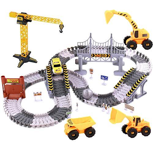 Autorennbahn Rennbahn Cars Spielzeug-spielzeugautos Autobahn ab 3 4 5 6 Jahre Junge Mädchen,Flexible Track...